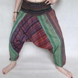 Spodnie szarawary - ciemne z bordo