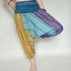 Spodnie szarawary - jasne z turkusem