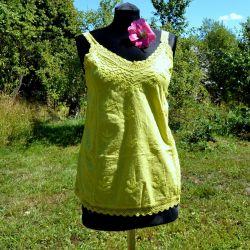 Tunika indyjska bawełniana - limonkowy top