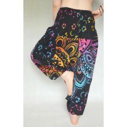 Spodnie - bawełniane szarawary - tęczowa mandala