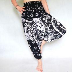 Spodnie - bawełniane szarawary - biała mandala