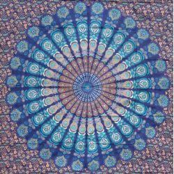 Narzuta bawełniana - duża mandala - z turkusem