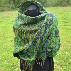 Szal nepalski - paisley - kobalt z zielenią