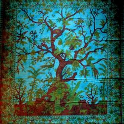 Narzuta bawełniana - drzewo życia - błękitny turkus