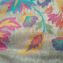 Szal indyjski - pashmina - stalowe kwiaty
