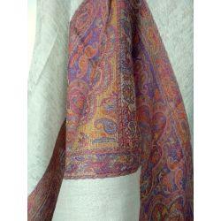 Szal indyjski - pashmina - beżowe paisley