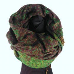 Szal nepalski - paisley - ciemny brąz z zielenią