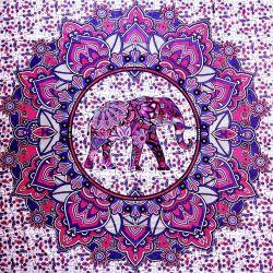 Narzuta bawełniana - różowa mandala ze słoniem