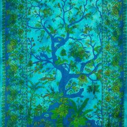 Obrus - makata - drzewo życia - turkus
