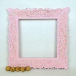 Ramka drewniana - kwadrat - róż