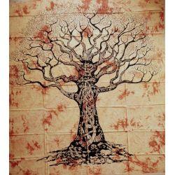 Narzuta bawełniana - mądre drzewo - blady żółty