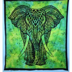 Narzuta bawełniana - tęczowy słoń - zielony