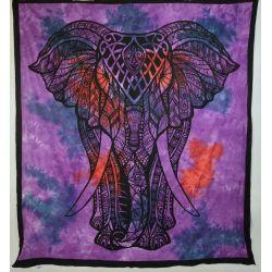 Narzuta bawełniana - tęczowy słoń - fiolet