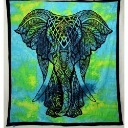 Narzuta bawełniana - tęczowy słoń - turkus