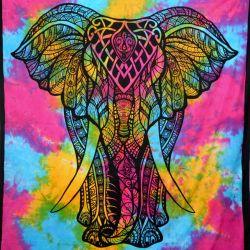 Narzuta bawełniana - tęczowy słoń - fuksja