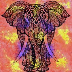 Narzuta bawełniana - tęczowy słoń - ogień