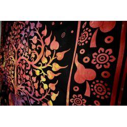 Narzuta bawełniana - słoń w ogrodzie - batikowa czerwień