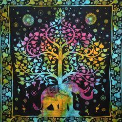 Narzuta bawełniana - słoń w ogrodzie - batikowy słonecznik
