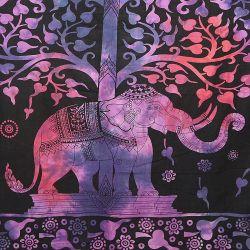 Narzuta bawełniana - słoń w ogrodzie - batikowy fiolet
