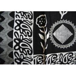 Sari bawełniane - czarne z kwiatem