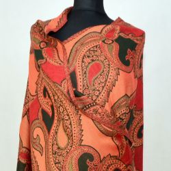 Szal indyjski - paisley - rudy z grafitem