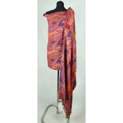 Szal indyjski - paisley - rudy z fioletem