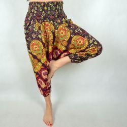 Spodnie - bawełniane szarawary - wiśniowa mandala