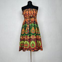 Spódnica indyjska - kopertowa - krótka - zielona mandala