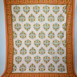 Narzuta bawełniana - pomarańczowe kwiaty