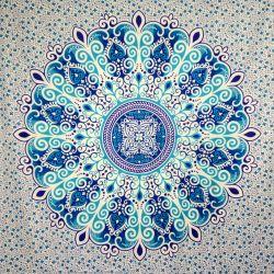 Narzuta bawełniana - piękna mandala - chabry i turkusy