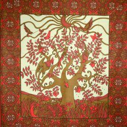 Narzuta bawełniana - okno - brąz