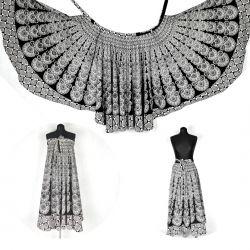 Spódnica z koła - indyjska kopertowa - biało - czarna