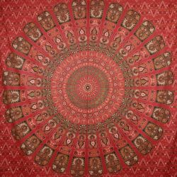 Narzuta bawełniana - mandala w puzzle - czerwona