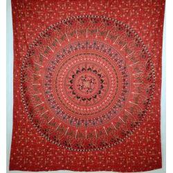 Narzuta bawełniana - mandala - procesja - czerwona