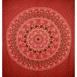Narzuta bawełniana - mandala - słonie i wielbłądy - czerwona