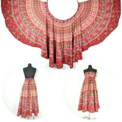 Spódnica z koła - indyjska kopertowa - czerwona III