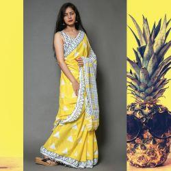 Sari bawełniane - żółte trójkąty