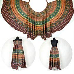 Spódnica z koła - indyjska kopertowa - sosnowa