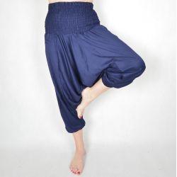 Spodnie szarawary - granatowy rayon