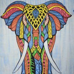 Narzuta bawełniana - kolorowy słoń