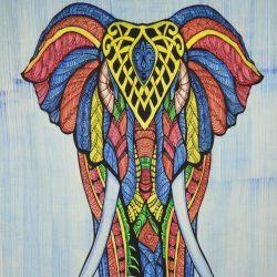 Obrus - makata - kolorowy słoń