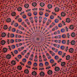 Narzuta bawełniana - batikowa mandala - czerwień