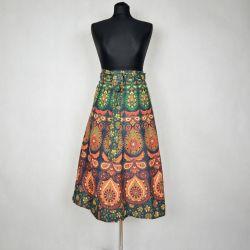 Spódnica indyjska - kopertowa - krótka - zielona mandala II