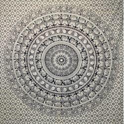 Narzuta bawełniana - czarna karawana z terakotą