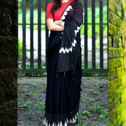Sari bawełniane - czarne w drobne groszki