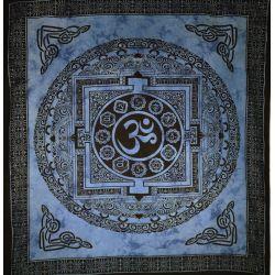 Narzuta bawełniana - mandala z Om - niebieska