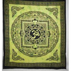 Narzuta bawełniana - mandala z Om - zielona