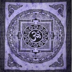 Narzuta bawełniana - mandala z Om - fioletowa