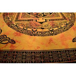 Narzuta bawełniana - mandala z Om - żółta
