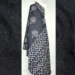 Sari bawełniane - czarne drzewa